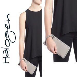 🆕 Zip Around Leather Wallet Grey Opal Halogen